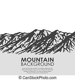 bergketen, witte , vrijstaand, achtergrond