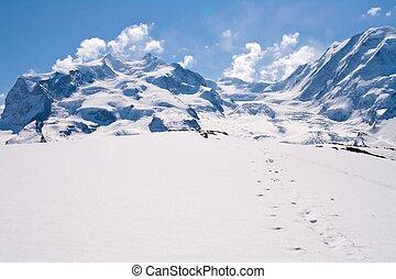 bergkette, schnee