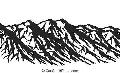 bergkette, weißes, freigestellt, hintergrund