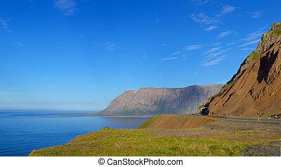 berglandschaft, auf, island