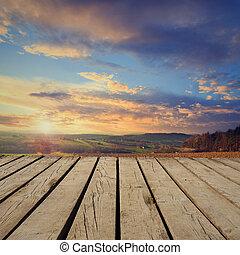 berglandschaft, und, leerer , holzterrasse, tisch., bereit,...