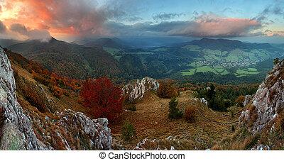 berglandschaft, vapec, -, herbst, slowakei, wald