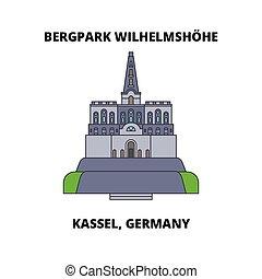 Bergpark Wilhelmshohe, Kassel, Germany line icon, vector...