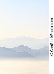 bergrücken, berge, blaues, szenische ansicht