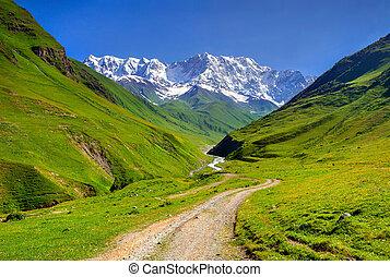 bergrücken, haupt, mountain., shkhara, kaukasier