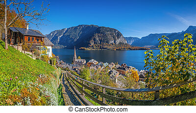 bergsee, herbst, österreich, historisch, dorf, hallstatt