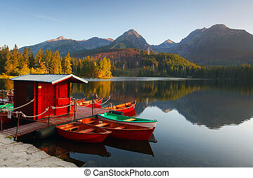 bergsee, in, slowakei, tatra, -, strbske, pleso