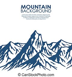 bergskedja, isolerat, vita, bakgrund