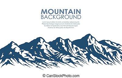 bergskedja, silhuett, isolerat, på, white.