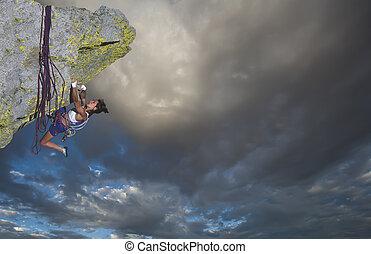 bergsteiger, auf, der, edge.