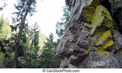 bergsteiger, extremklettern, auf, der, felsformation, in,...