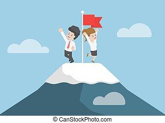 bergtop, klom, zakenman