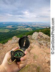 bergtop, kompas
