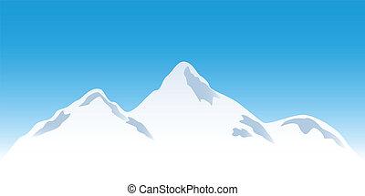 bergtopen, besneeuwd