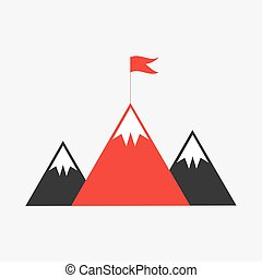 bergtopen, met, vlag