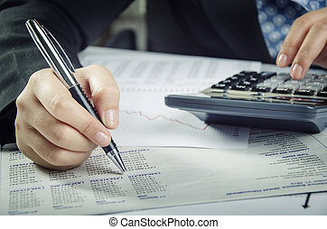 bericht, analysieren, finanziell