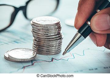bericht, bestand, analysieren, markt, schreibende