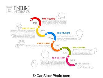 bericht, timeline, infographic, diagonal, schablone