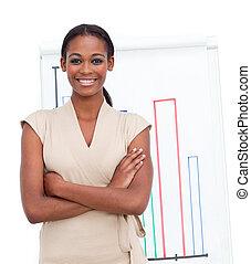 berichtgeving, uitvoerend, verkoopcijfer, vrouwlijk, het glimlachen