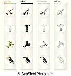 Berimbau, the Brazilian instrument, maracas, Statue of Christ the Redeemer the bird toucan. Brazil set collection icons in cartoon black monochrome outline style vector symbol stock illustration web.