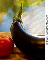 beringela, e, tomate, 2
