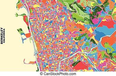 Berkeley, California, USA, colorful vector map