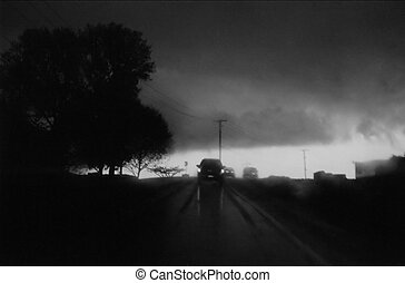 A dangerous storm that we encountered as we drove through Berks County, Pennsylvania; taken through the windshield of a car.