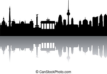 berlín, silueta, resumen