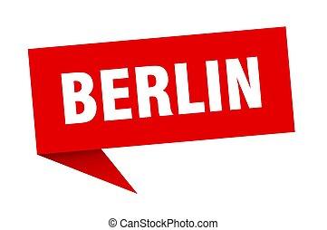 berlín, sticker., indicador, poste indicador, rojo, señal