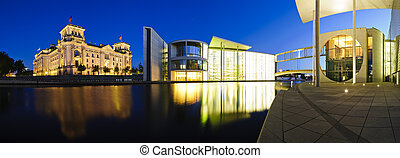 berlim, edifícios governo, noturna