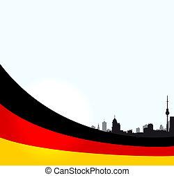 berlim, ilustração, vetorial, bandeira, alemão