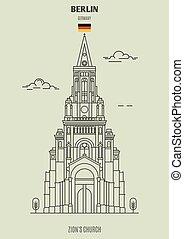 berlin, église, germany., repère, icône, zion's