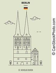 berlin, église, germany., repère, nicolas, icône, rue.