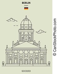 berlin, église, nouveau, germany., repère, icône