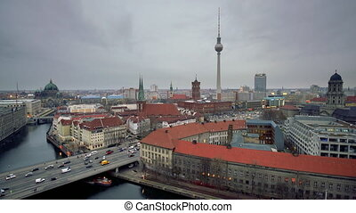Aerial view of Berlin: Spree river, museum island, alexanderplatz and tv tower, Germany