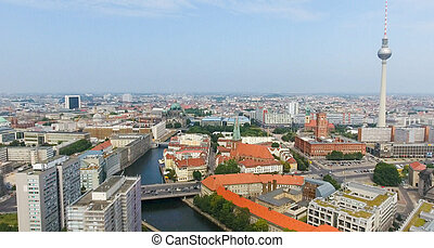 Berlin aerial view with river and Tv Tower