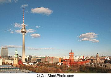 Berlin, Alexander Platz viewed from the Cupola of the Berliner Dom.