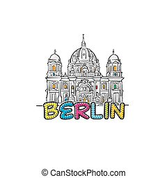 Berlin beautiful sketched icon, famaous hand-drawn landmark,...