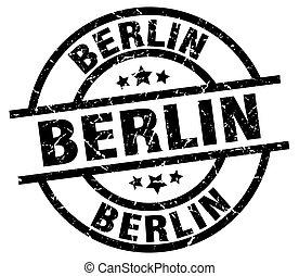 Berlin black round grunge stamp