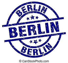 Berlin blue round grunge stamp