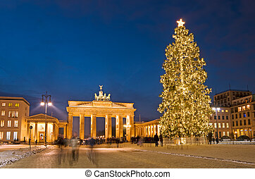Berlin Brandenburg Gate christmas - berlin pariser platz and...