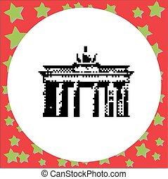 Berlin Brandenburg Gate or Brandenburger Tor Berlin Germany vector illustration isolated on round white background with stars