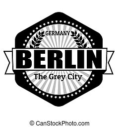 Berlin capital of Germania label or stamp