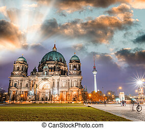 Berlin cathedral at night, Berliner Dom - Germany