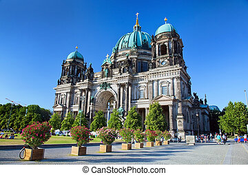 Berlin Cathedral. Berliner Dom, Germany. Street view