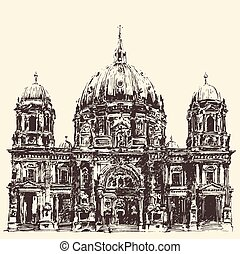 Berlin Cathedral Berliner Dom Germany Hand drawn...