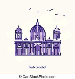 BERLIN CATHEDRAL Landmark Purple Dotted Line skyline vector illustration