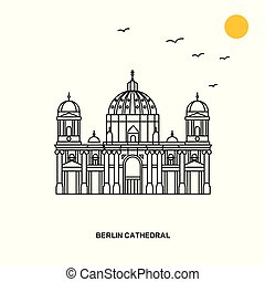 BERLIN CATHEDRAL Monument. World Travel Natural illustration Background in Line Style