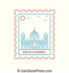 BERLIN CATHEDRAL postage stamp Blue and red Line Style, vector illustration
