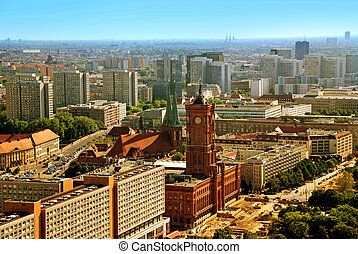 berlin city hall - aerial photo of berlin town hall rotes...
